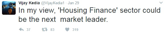 Vijay Kedia Tweet Housing Finance